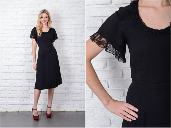 Vintage 40s 50s Black Cocktail Dress Party Lace Kn
