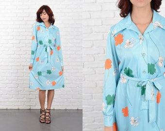 Vintage 70s Blue Mod Dress Vivid Orange Flower Print Shift Mod Medium M 10749 vintage dress blue dress orange dress flower dress mod dress