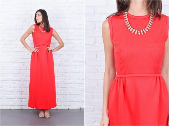 Vintage 70er Jahre Rot Mod Kleid Gerippt A Linie Maxi Crewneck Etsy