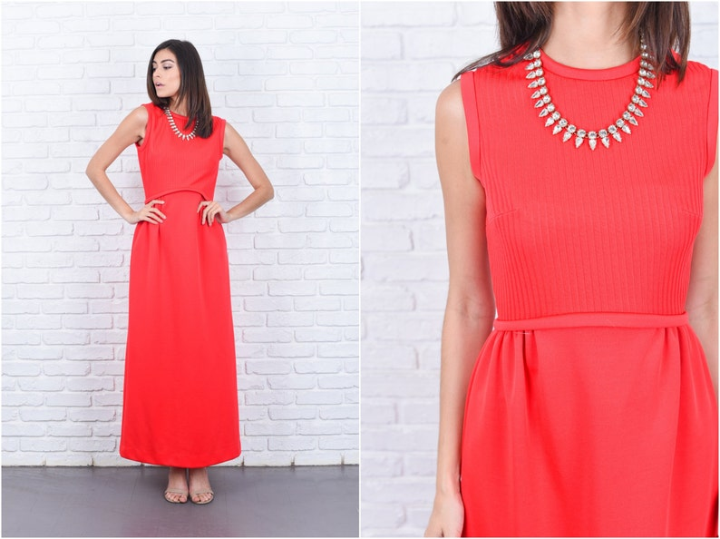 abf0cdf2aad Vintage 70s Red Mod Dress Ribbed A Line Maxi Crewneck