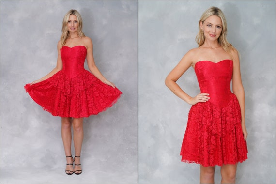 Vintage 80s Red Lace Dress Cocktail Party Dress Ti