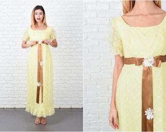 Yellow Boho Dress Vintage 70s White Floral Print Daisy Maxi XXS 8478