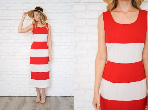 Vintage 90s Red + White Bold Striped Dress Maxi Mi