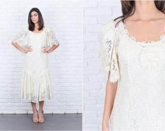 Vintage 80s Ivory Lace Dress Floral Crochet Puff Sleeve Midi Party XS 7582 vintage dress 80s dress lace dress floral dress midi dress xs