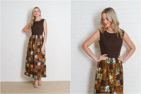 Vintage 60s Brown Patchwork Dress Paisley Floral … - image 1
