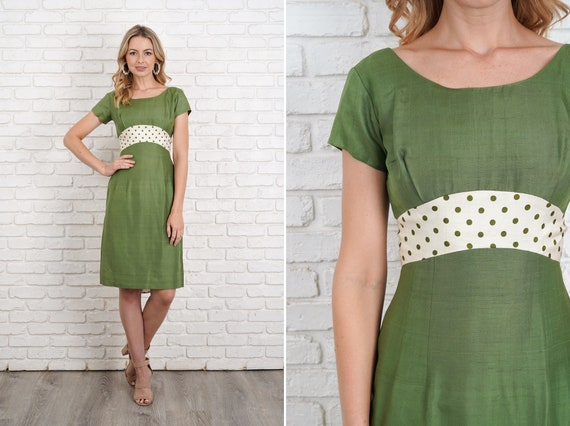 Vintage 50s 60s Green Cocktail Party Dress Polka D