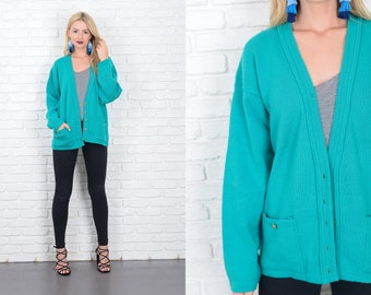 Vintage 70s Teal Blue Sweater Cardigan Oversized Slouchy Small Medium 10161