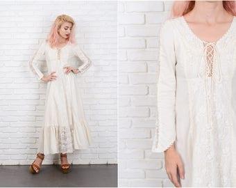 Vintage 70s Cream Lace Crochet Wedding Hippie Dress Cutout Maxi Boho XS 9698 vintage dress 70s dress cream dress lace dress wedding dress