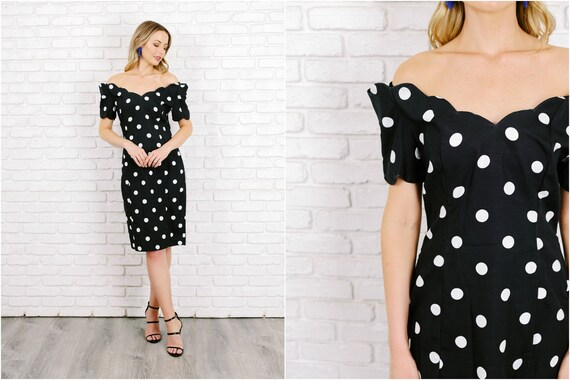 Vintage 80s Black White Polka Dot Dress