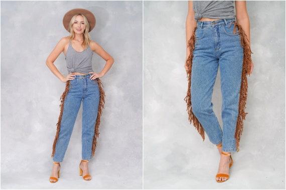 Vintage 90s Blue Jeans Denim Leather Suede Fringe