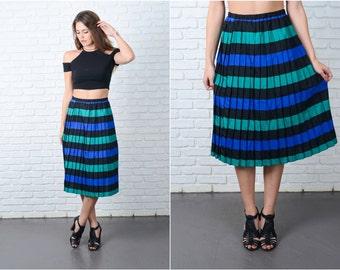 Vintage 80s Black + Green Retro Skirt Pleated Bold Striped Medium Large M L 9077
