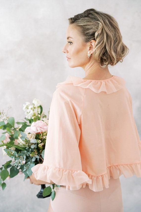 Vintage 60s 70s Peach Ruffle Peignoir Bridal Boud… - image 6