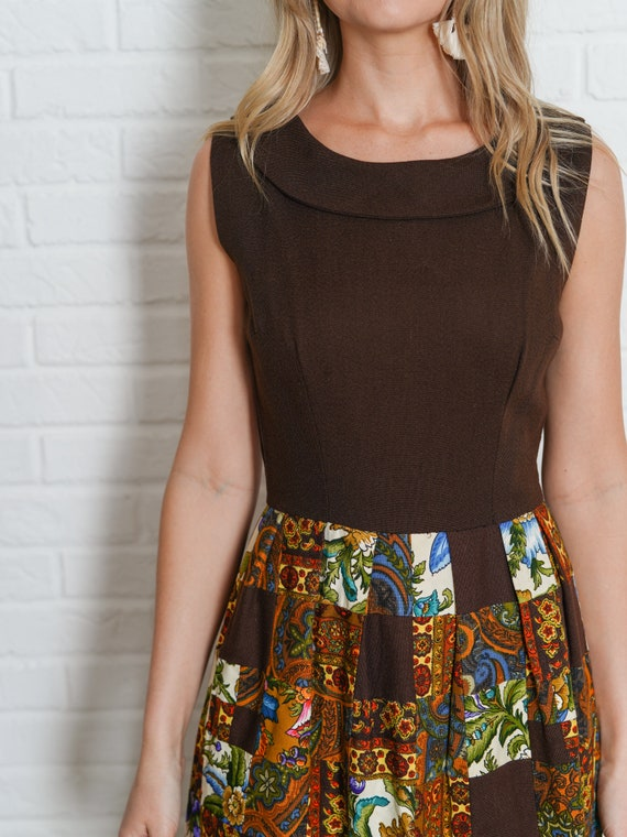 Vintage 60s Brown Patchwork Dress Paisley Floral … - image 7