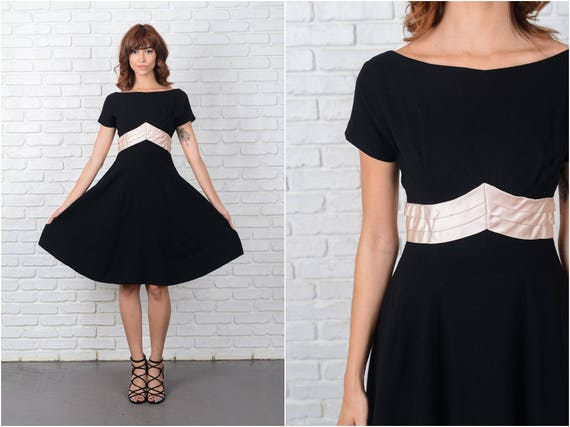 Vintage 50s Black Wool Knit Dress Cocktail Party L