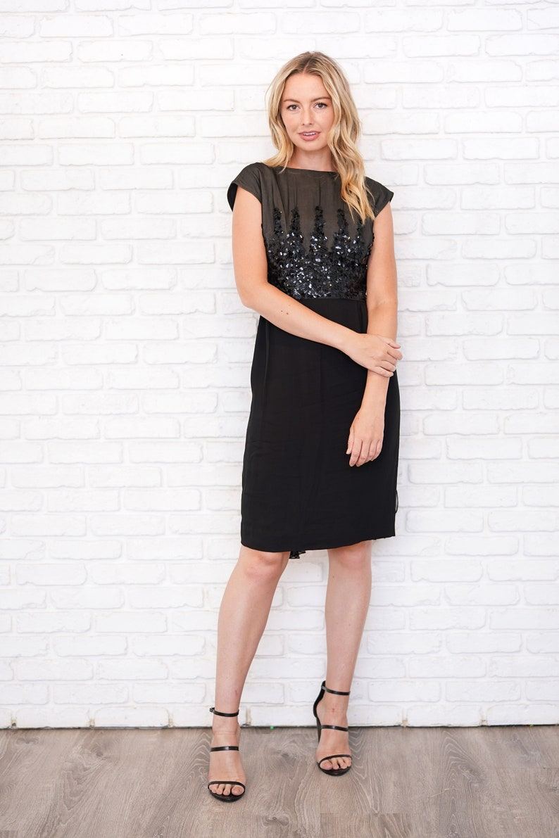 Vintage 60s Silk Sequin Dress Cocktail Party Chiffon Sleeveless Black Small S