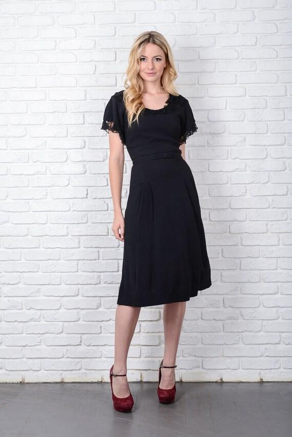 Vintage 40s 50s Black Cocktail Dress Party Lace K… - image 2