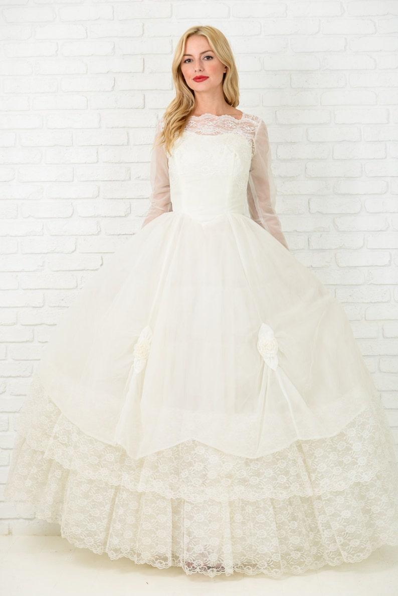 Vintage 20s 20s white sheer Lace full Retro Ballgown Wedding dress ...