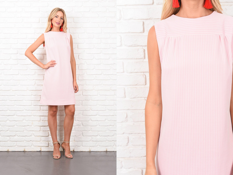 b8077a29e35 Vintage 70s Pink White Striped Dress A Line Mod Sleeveless