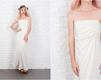 Vintage 70s Cream Maxi Dress Draped Goddess Cocktail Party Small S 9697