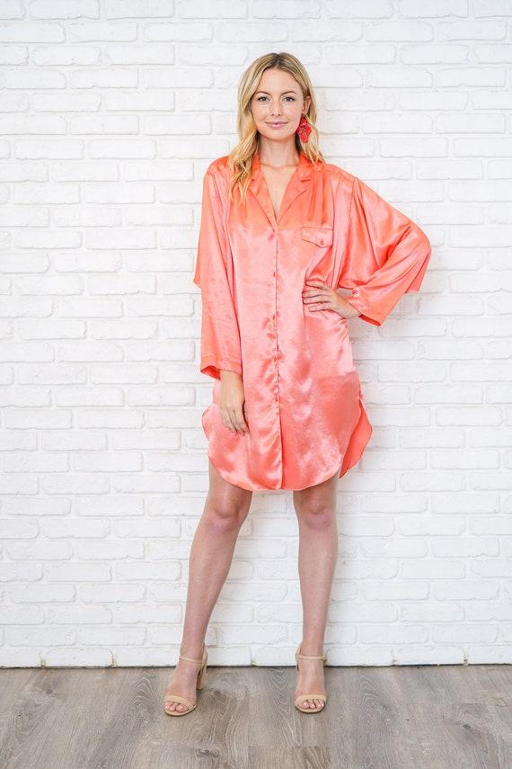Vintage 80s 90 Pink Satin Shirtdress Oversize Slo… - image 4