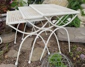 Set of Three White Metal Nesting Patio Tables Plant Stands with Scroll Metal Leaf Accents