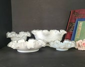 Set of Four Fenton Silver Crest Decorative Bowls Large Silvercrest White Spanish Lace Ruffled Edge Bowl Lot of Ruffle Clear Edge Fenton