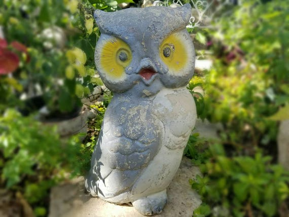 Large Vintage Concrete Cement Owl Garden Statue | Etsy
