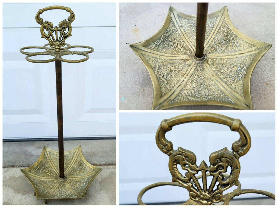 Vintage Brass Parasol Shaped Umbrella Stand | Hollywood Regency Umbrella Shaped Cane Holder | Mid Century Asian Floral Brass Parasol Holder