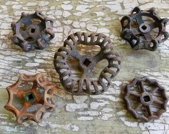 Set Of Five (5) Rusty Metal Garden Faucet Spigot Handles / Knobs