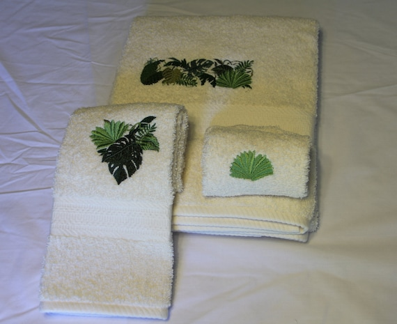 3 Piece Set Of Embroidered Towels Jungle Leaves Design Etsy