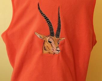 Embroidered Fleece Vest - Woman's XL - Gazelle Design