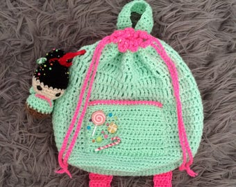 """Wreck-It Ralph """"Vanellope"""" ~ Lil' Crochet Drawstring Candy Backpack"""
