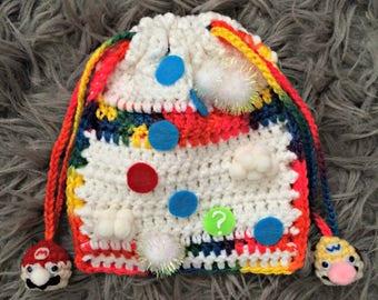 """Mario Party """"Mario's Rainbow Castle"""" ~ Lil' Crochet Drawstring Bag"""