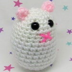 HAMMO HAMSTER PLUSH - White Syrian - Amigurumi Hamster Plush Doll (Keychain or Ornament Option)