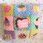 Crochet Pastel Rainbow Sweets Granny Square Pillow ~ Lolita Fairy Kei Pillow