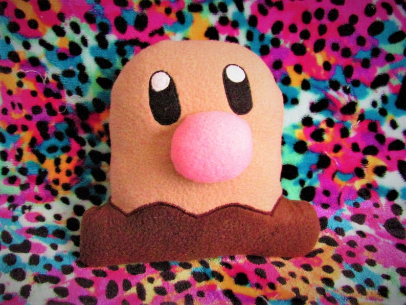 DIGLETT  Pokémon Plush Cushion Companion  Inspired by image 0