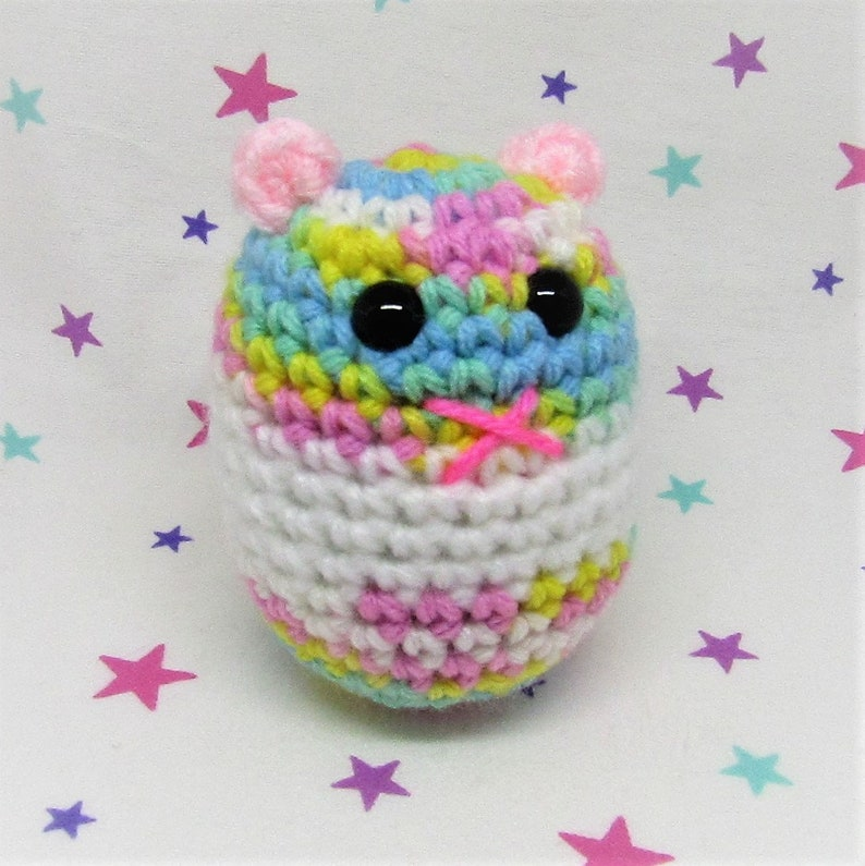 HAMMO HAMSTER PLUSH - Light Rainbow Banded Syrian Fantasy Ham - Amigurumi  Hamster Plush Doll (Keychain or Ornament Option)
