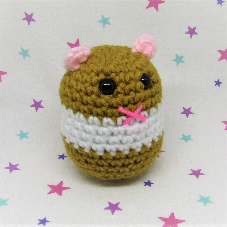 HAMMO HAMSTER PLUSH - Golden Banded Syrian - Amigurumi Hamster Plush Doll  (Keychain or Ornament Option)
