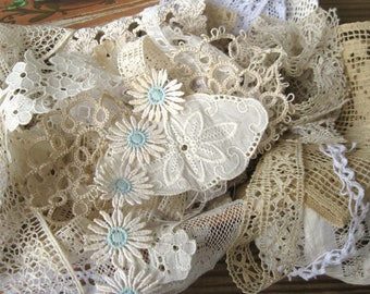 Vintage Grungy Old Lace Scrap Pack Bits & Pieces of Trim and Appliques (18 Pieces) White Off White Ecru Dirty Shabby