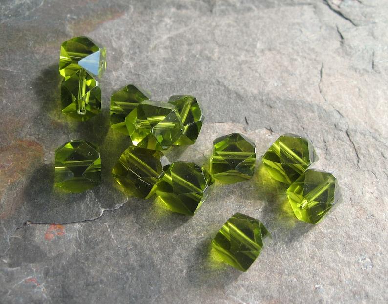 6 Olivine Czech Firepolish Glass Faceted Cube Beads 6mm