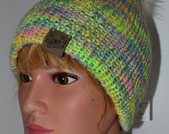 Hand Dyed Knit Alpaca Hat with Faux Fur Pom