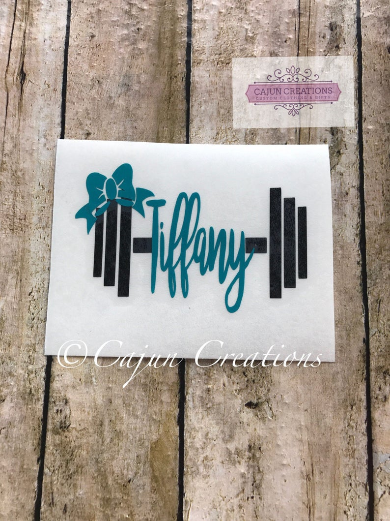 Crossfit decal Gym decal Weight name with bow weight image 0