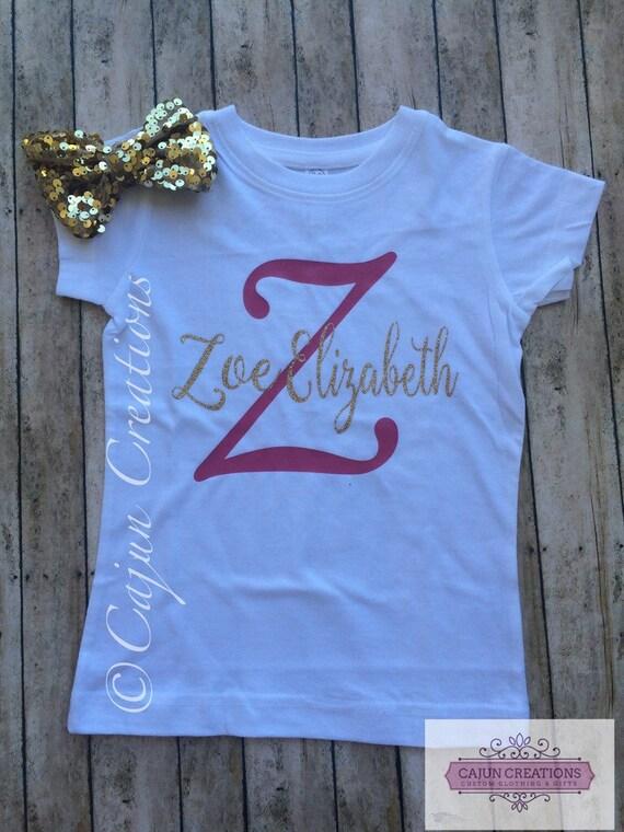 e9ed532e Monogram Girls shirt personalized kids shirts girl toddler | Etsy