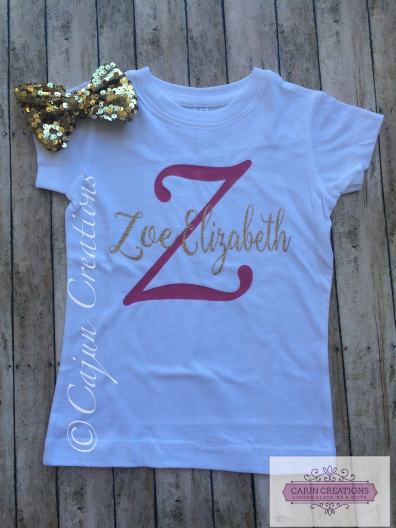 Personalised Initial Baby Top Toddler T-shirt Cute Baby Clothes Kids Custom