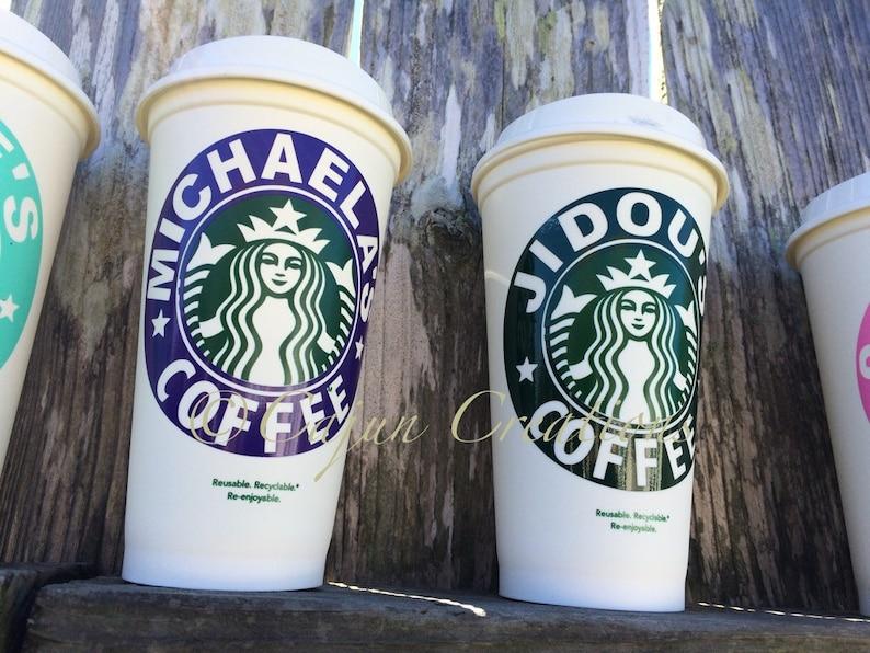 Starbucks Reusable Coffee Cup Monogram Custom Personalized Initials On Lid Food Beverage Starbucks Food Beverage Collectibles