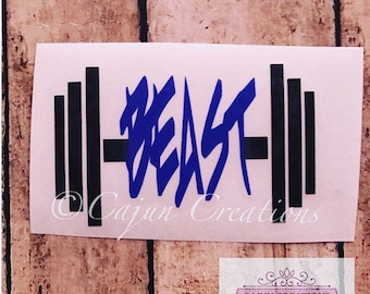 Crossfit decal, beast decal, weight lifting, gym decal, fitness decal, yeti decal, car decal, laptop decal, crossfit gift, workout decal