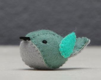 Blue bird from felt, Tiny felt blue bird, little felt bird, birthday gift, lovebird gift, gift for her, gift for him, valentines gift