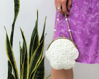 Off-White Raffia Evening Bag with a Beaded Gold Chain