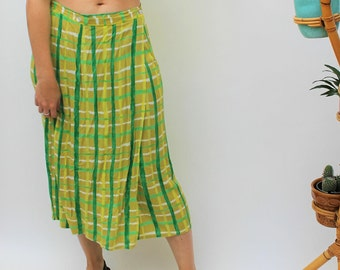 Lime Green Check Wrap Skirt Size UK 10/12, US 6/8, EU 38/40