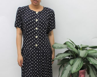 1980s Navy & White Polka Dot Midi Dress Size UK 12, US 8, EU 40